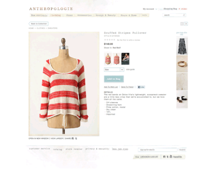 Anthropologie e-Commerce UI Screenshot